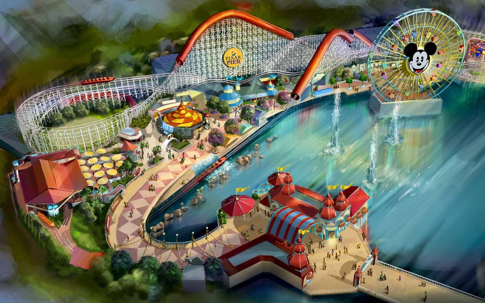 Rendering of Pixar Pier, coming soon to Disney California Adventure