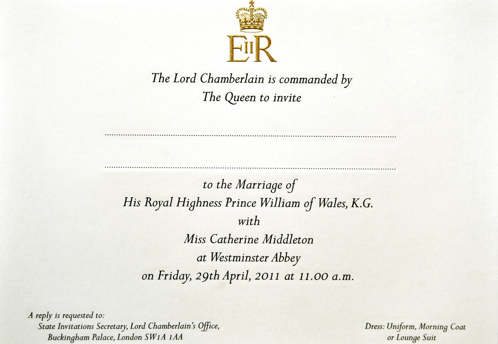 Kate Middleton and Prince William's wedding invitation