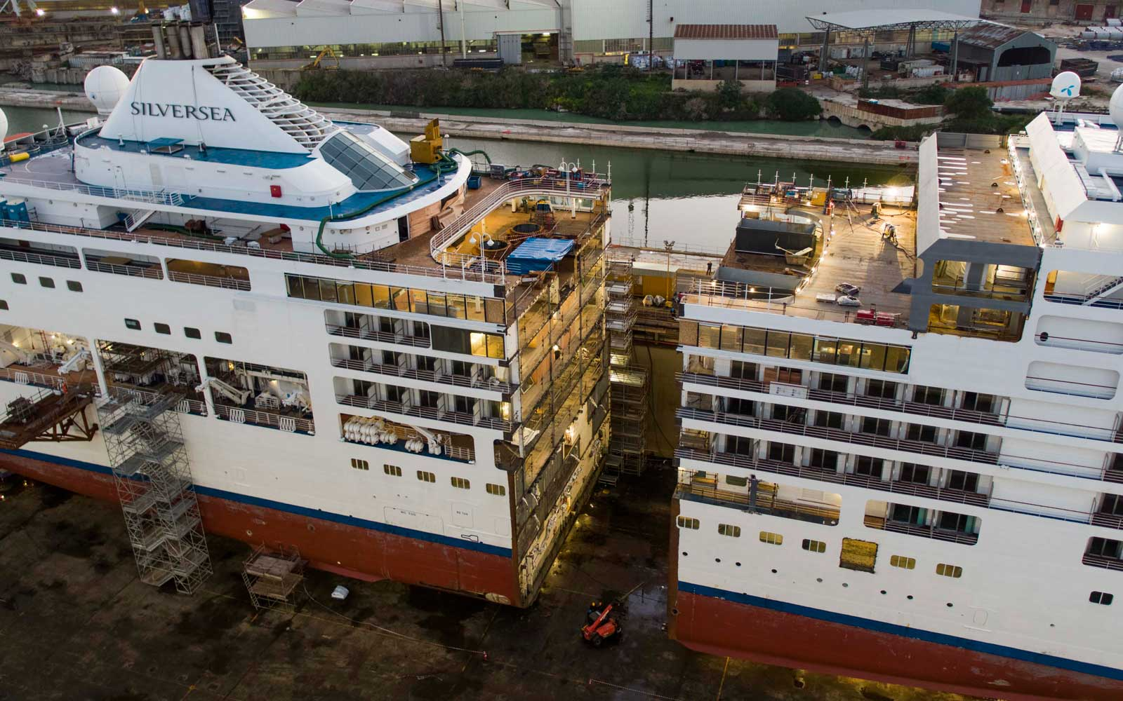 Silversea Spirit Cruise Ship being lengthened at dock