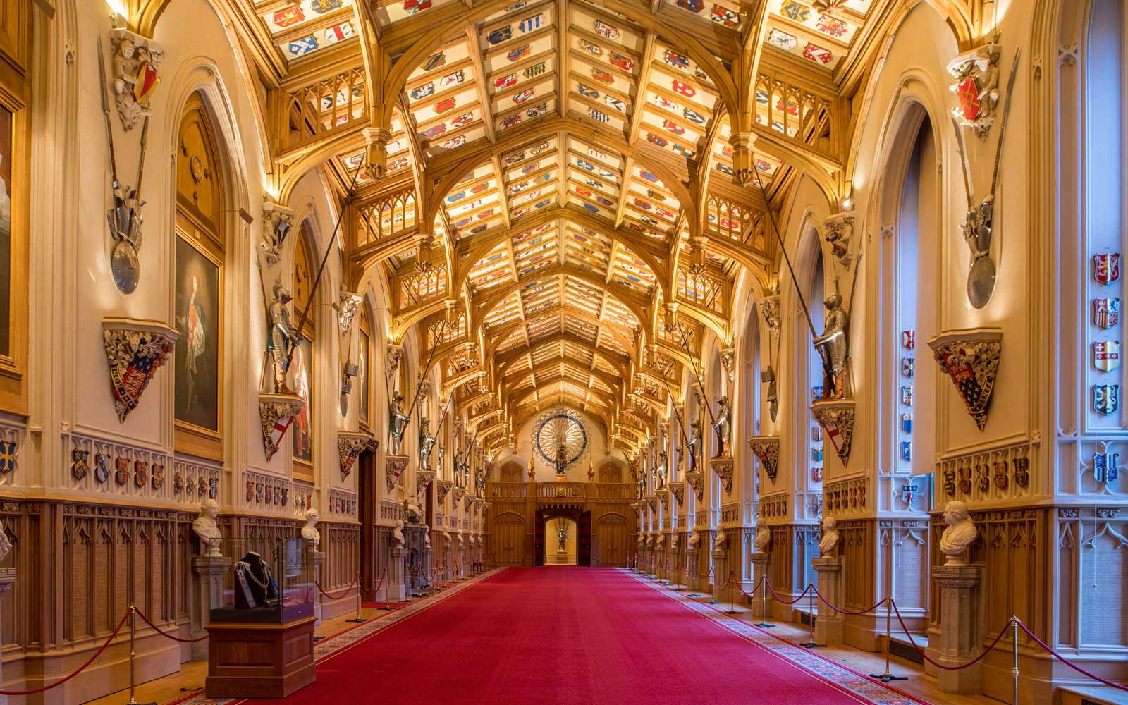 A general view shows St George's Hall at Windsor Castle