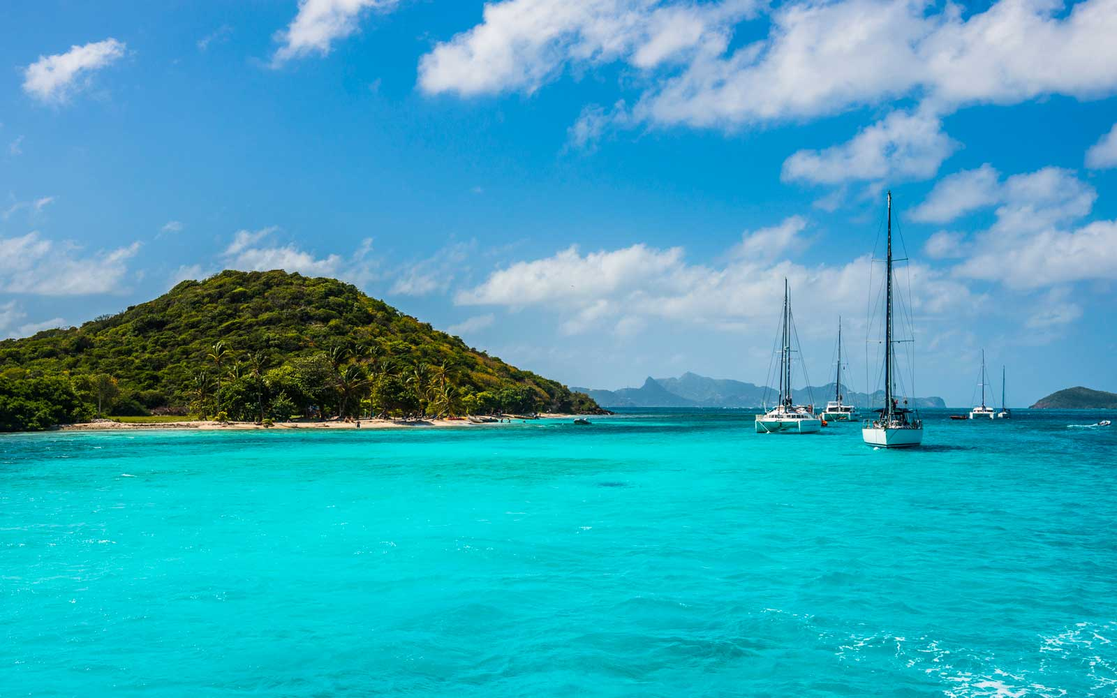 Sailing boats anchoring in the Tobago Cays, The Grenadines, St. Vincent and the Grenadines, Windward Islands, West Indies, Caribbean