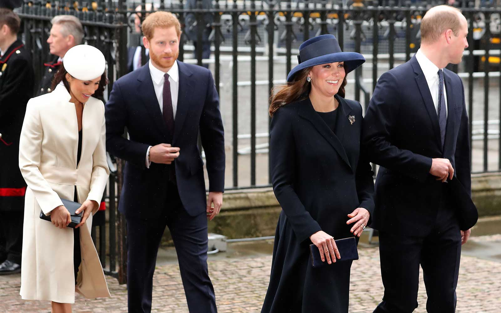 Catherine, Duchess of Cambridge, (2R) and Prince William, Duke of Cambridge (R), arrive with Prince Harry (C) and his fiancée Meghan Markle to attend a Commonwealth Day Service at Westminster Abbey