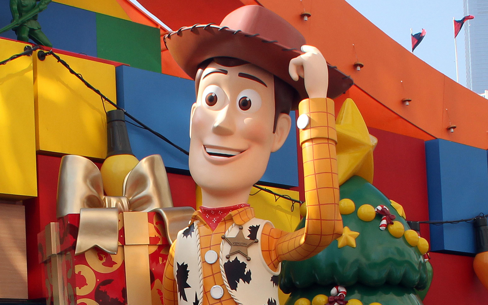 Disneyland's Toy Story characters outside a shopping mall in Hong Kong on November 5, 2011.