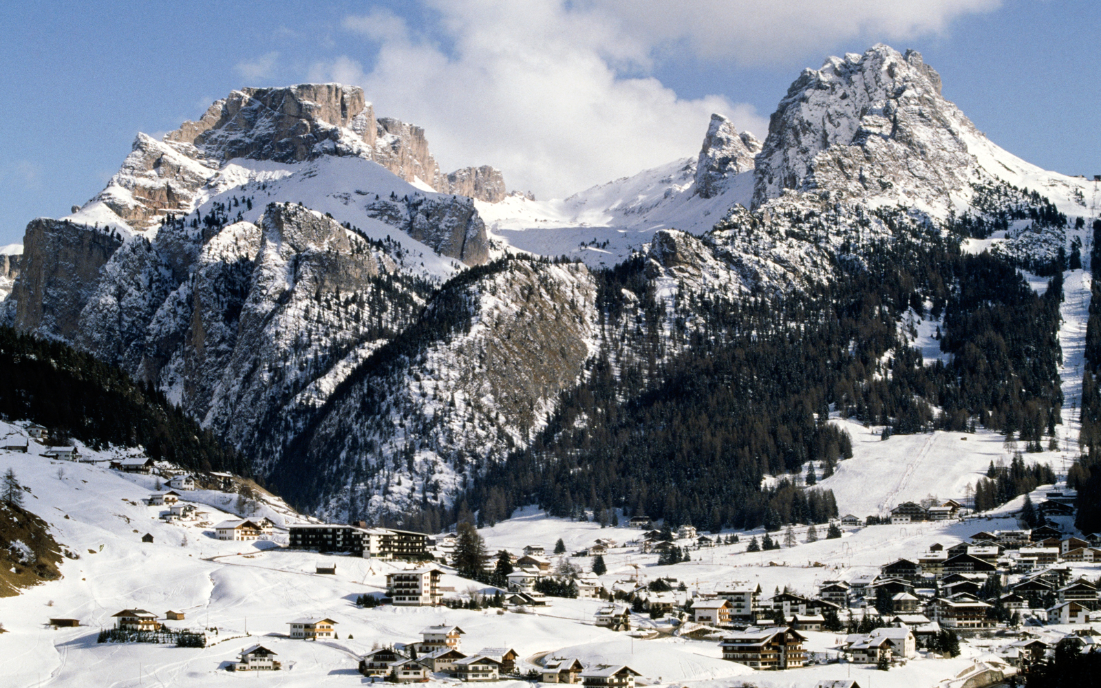 Winter view of Mont de Seura, Gardena Valley