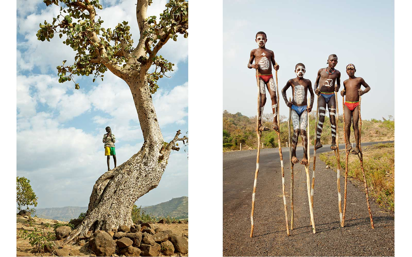 Left: Flute Player, Ethiopia 2013. Right: Entering the Omo Valley, Ethiopia 2013. From Circadian Landscape by Jessica Antola