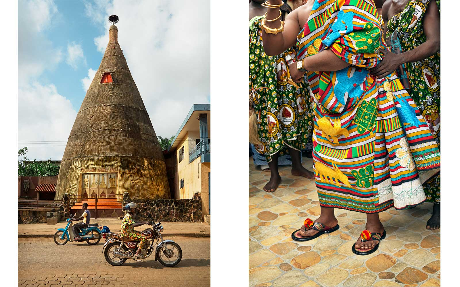 Left: Zangbeto Temple, Benin 2014. Right: The King's Warrior Dance, Ghana 2014.