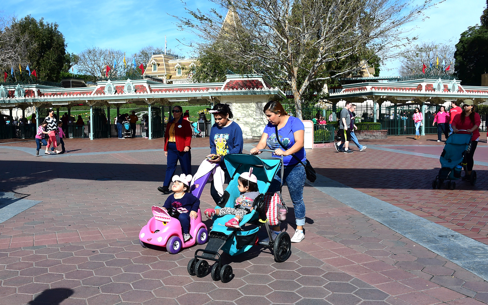People visit Disneyland in Anaheim, California