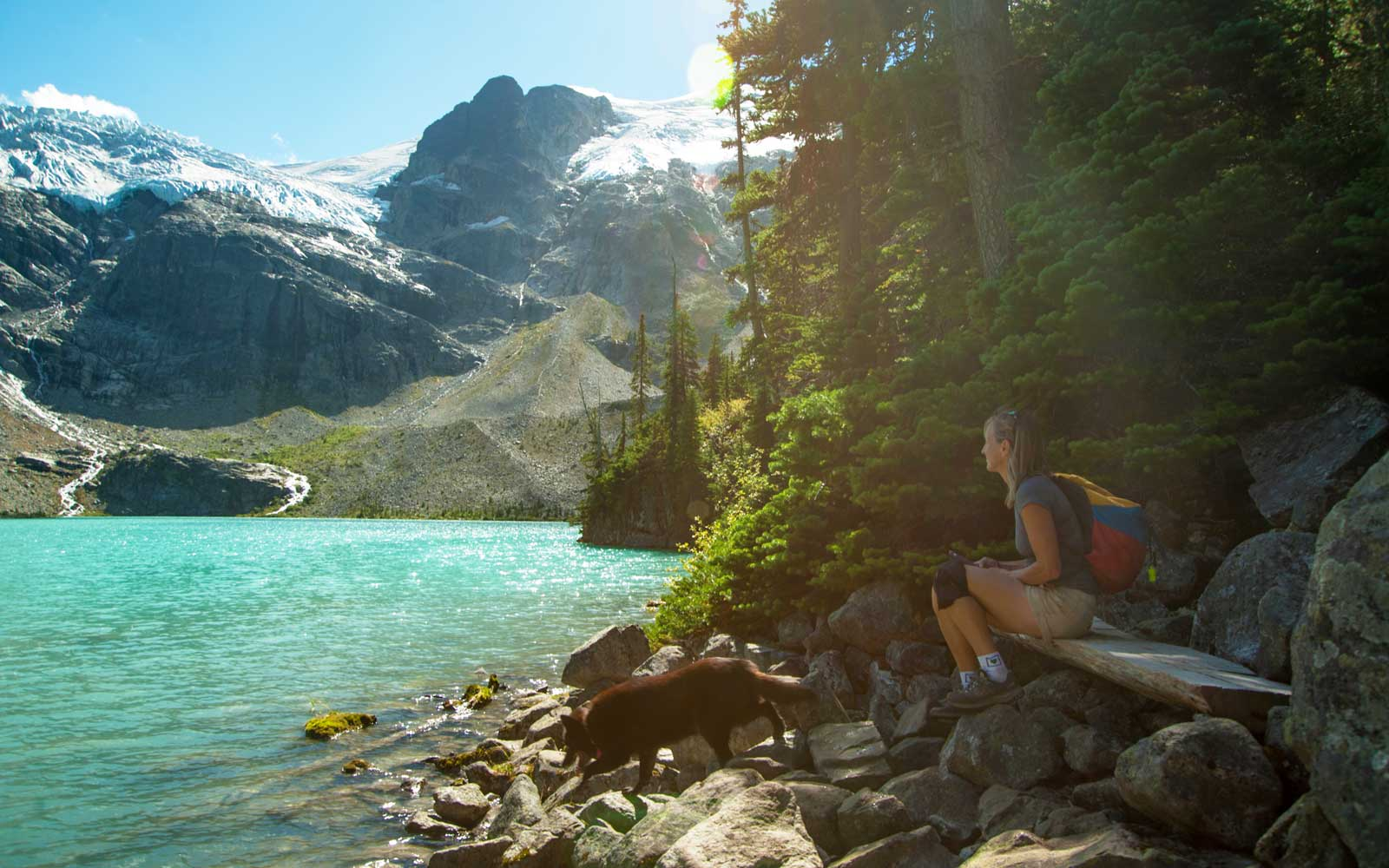 Woman resting beside Joffre Lake, Canada