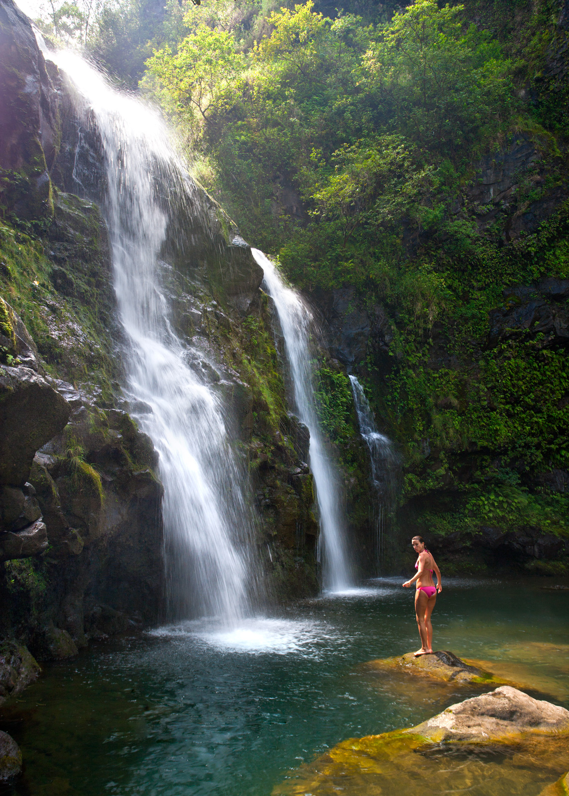 Waterfalls along famous road to Hana in Maui, Hawaii.