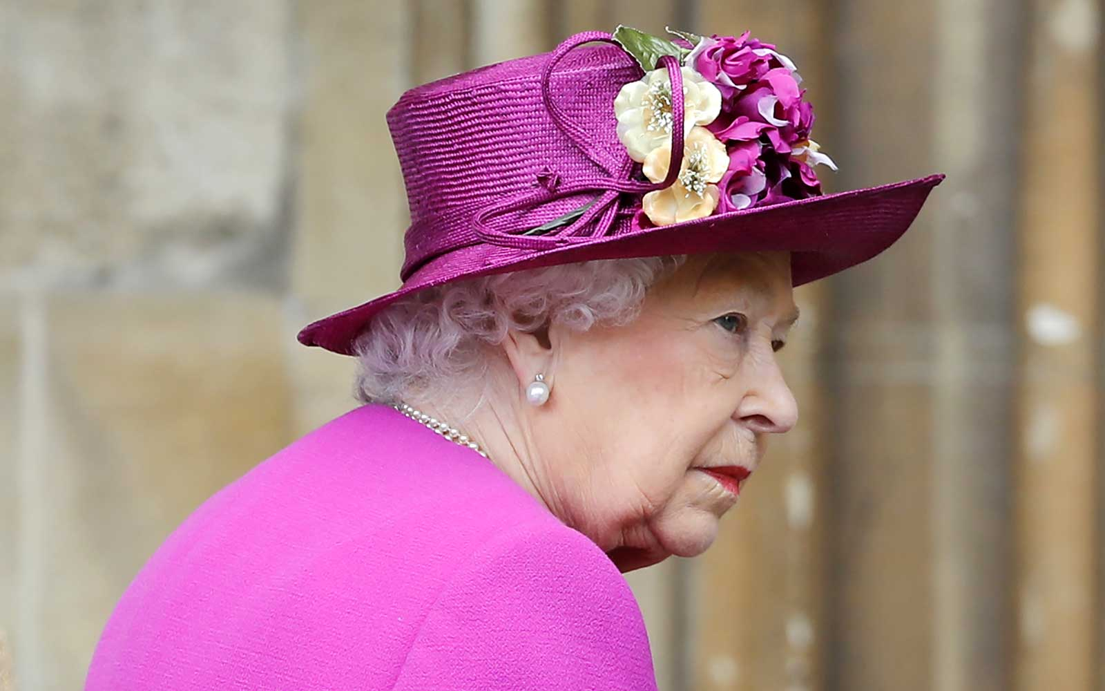 Queen Elizabeth II arrives for the Easter Mattins Service at St. George's Chapel at Windsor Castle