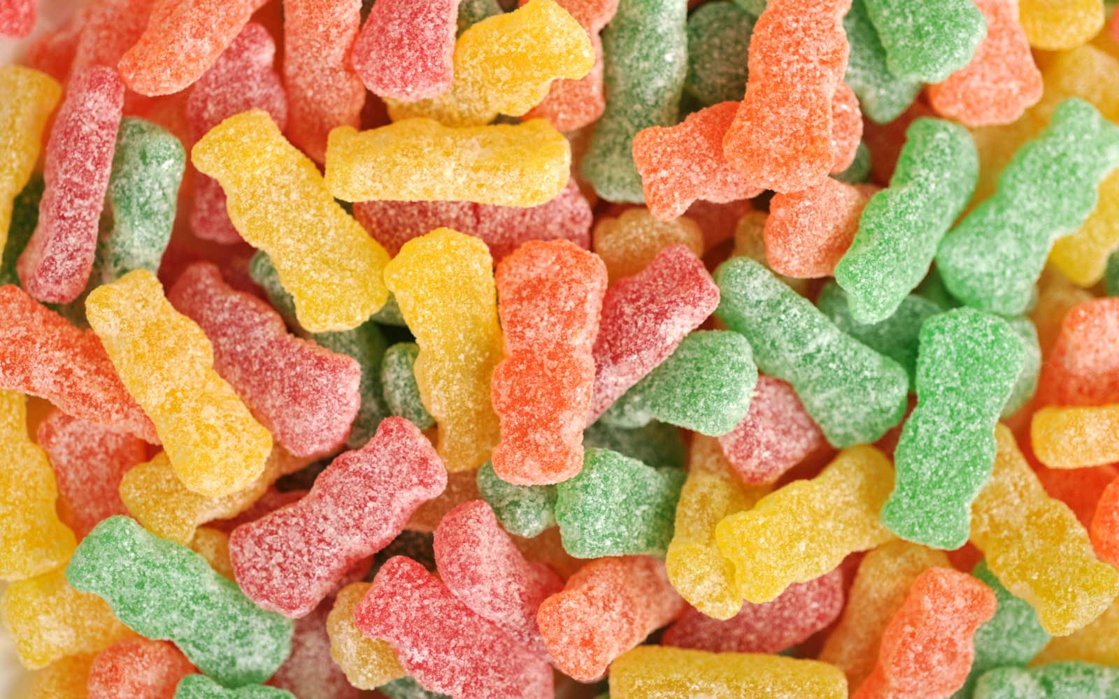 Overhead close-up of colorful sour candy
