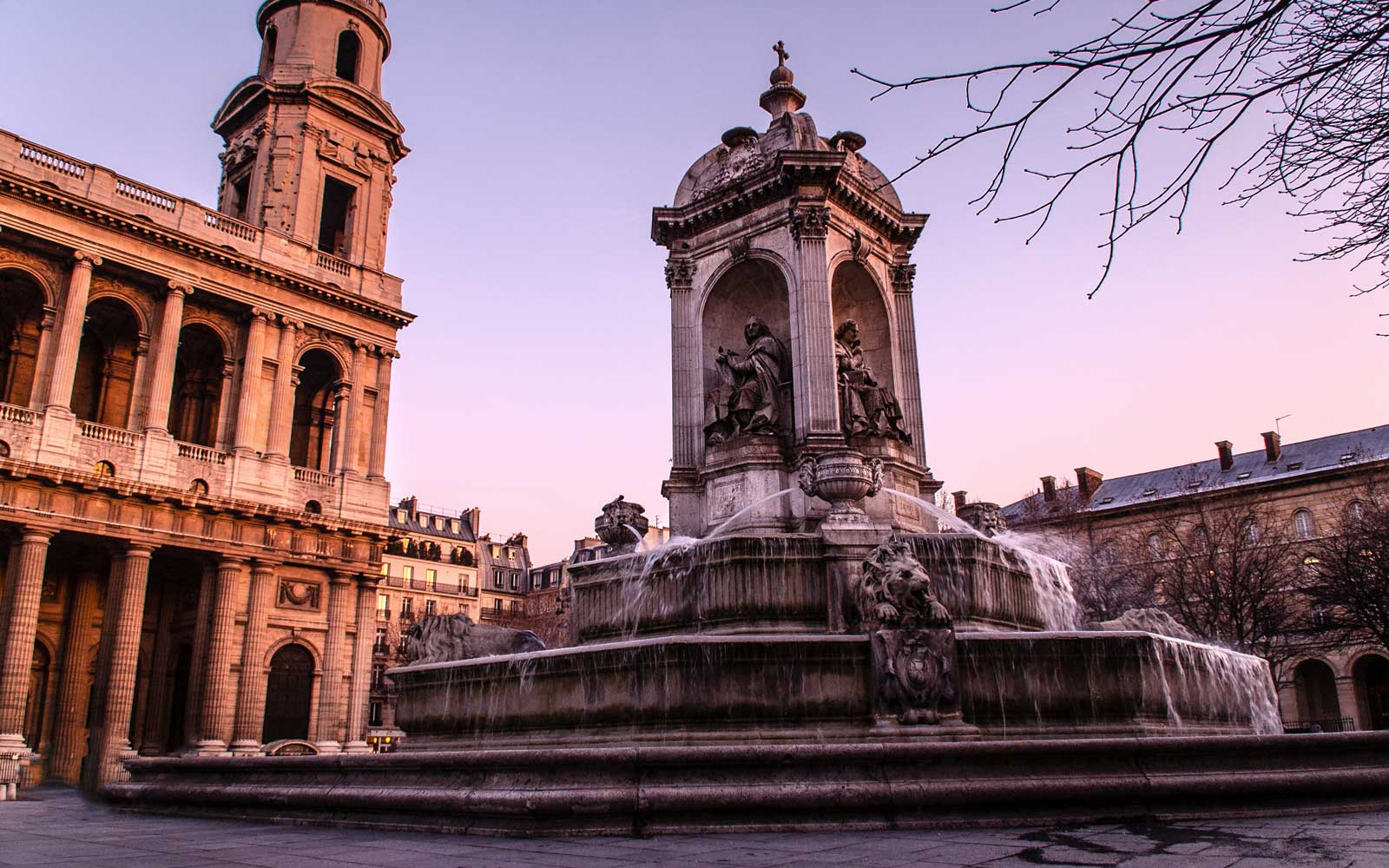 The Fontain and church of St. Sulpice in Paris, France
