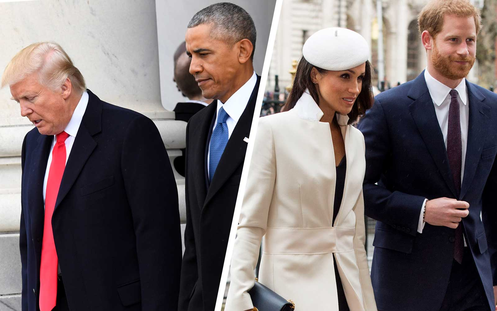Donald Trump, Barack Obama, Meghan Markle and Prince Harry