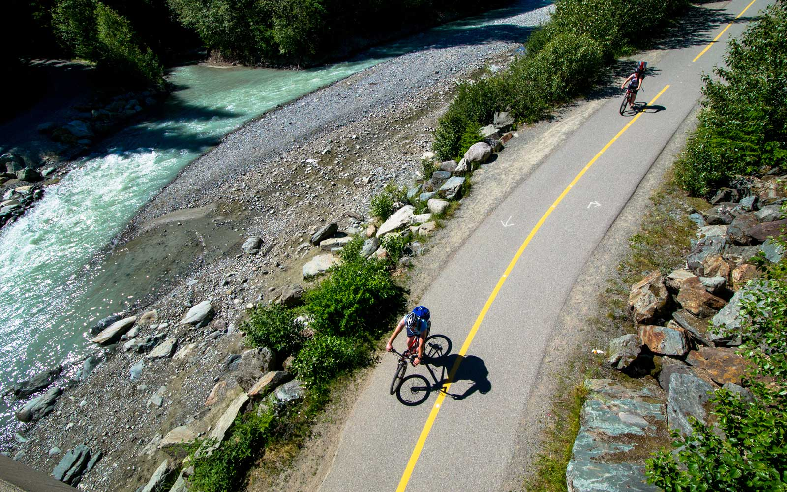 Cyclists on the Valley Trail in Whistler, British Columbia, Canada