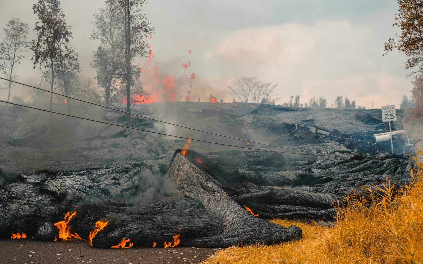 Lava flows from Fissure 21 in the aftermath of eruptions from the Kilauea volcano on Hawaii's Big Island