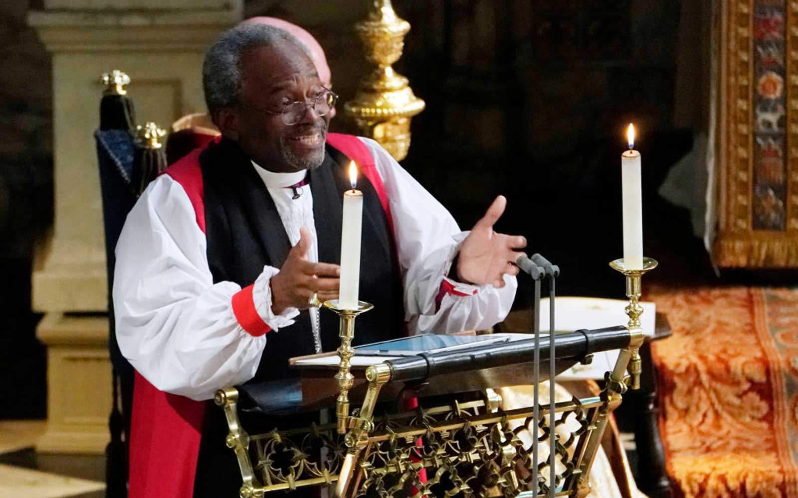 Bishop Michael Bruce Curry gives a reading during the wedding ceremony of Britain's Prince Harry, Duke of Sussex and US actress Meghan Markle in St George's Chapel, Windsor Castle