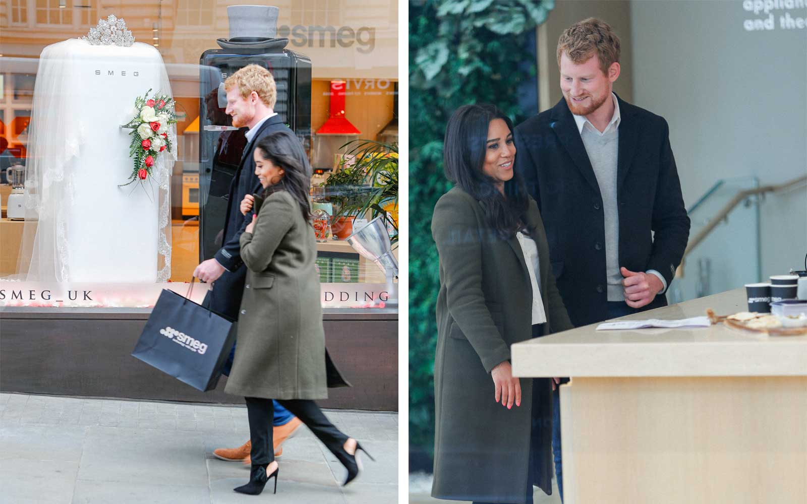 The Smeg London Store Enjoys A 'Royal' Visit As Prince Harry And Meghan Markle Lookalikes Are Spotted Shopping For Wedding Gifts