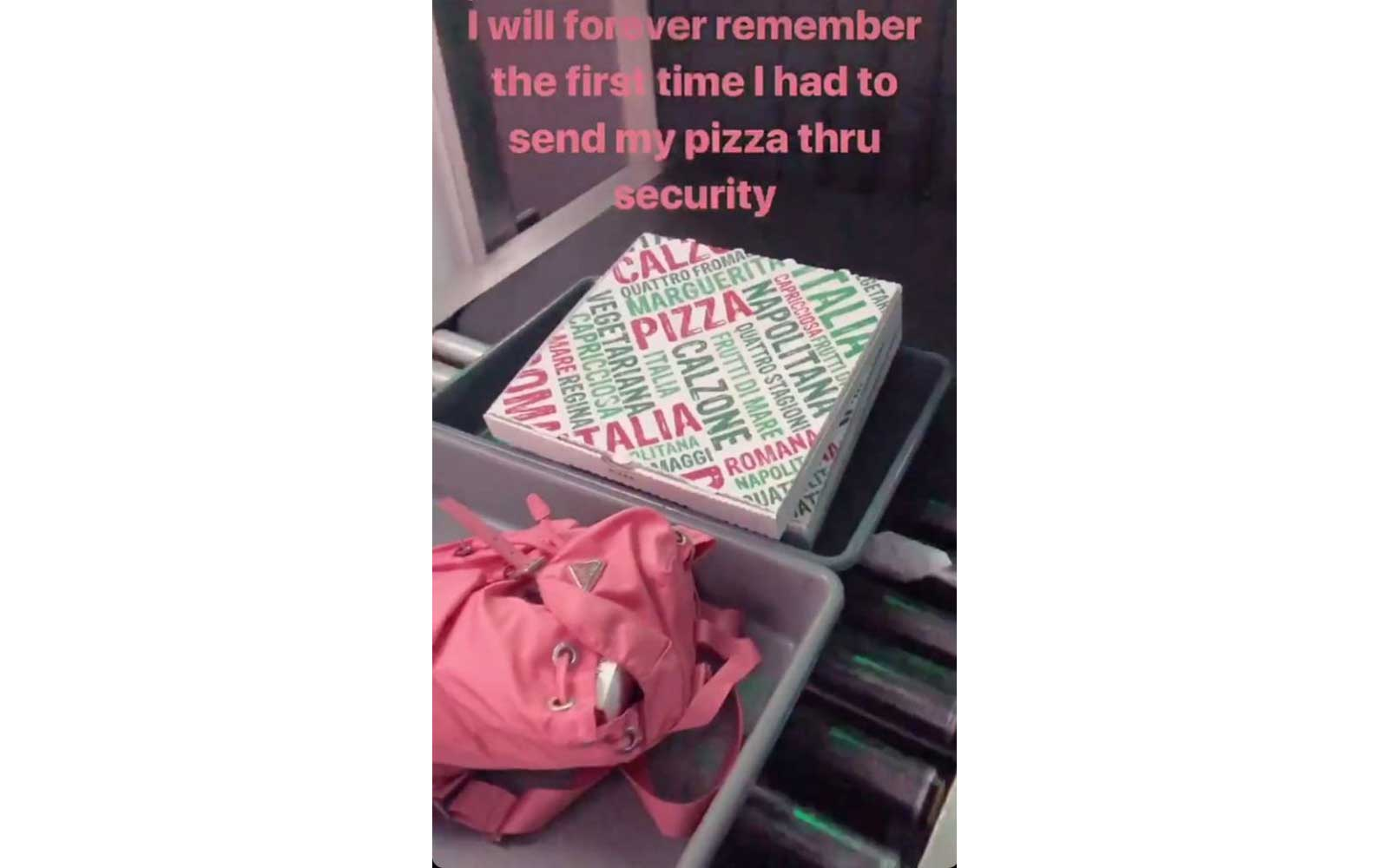 Bella Hadid sends pizza through TSA security