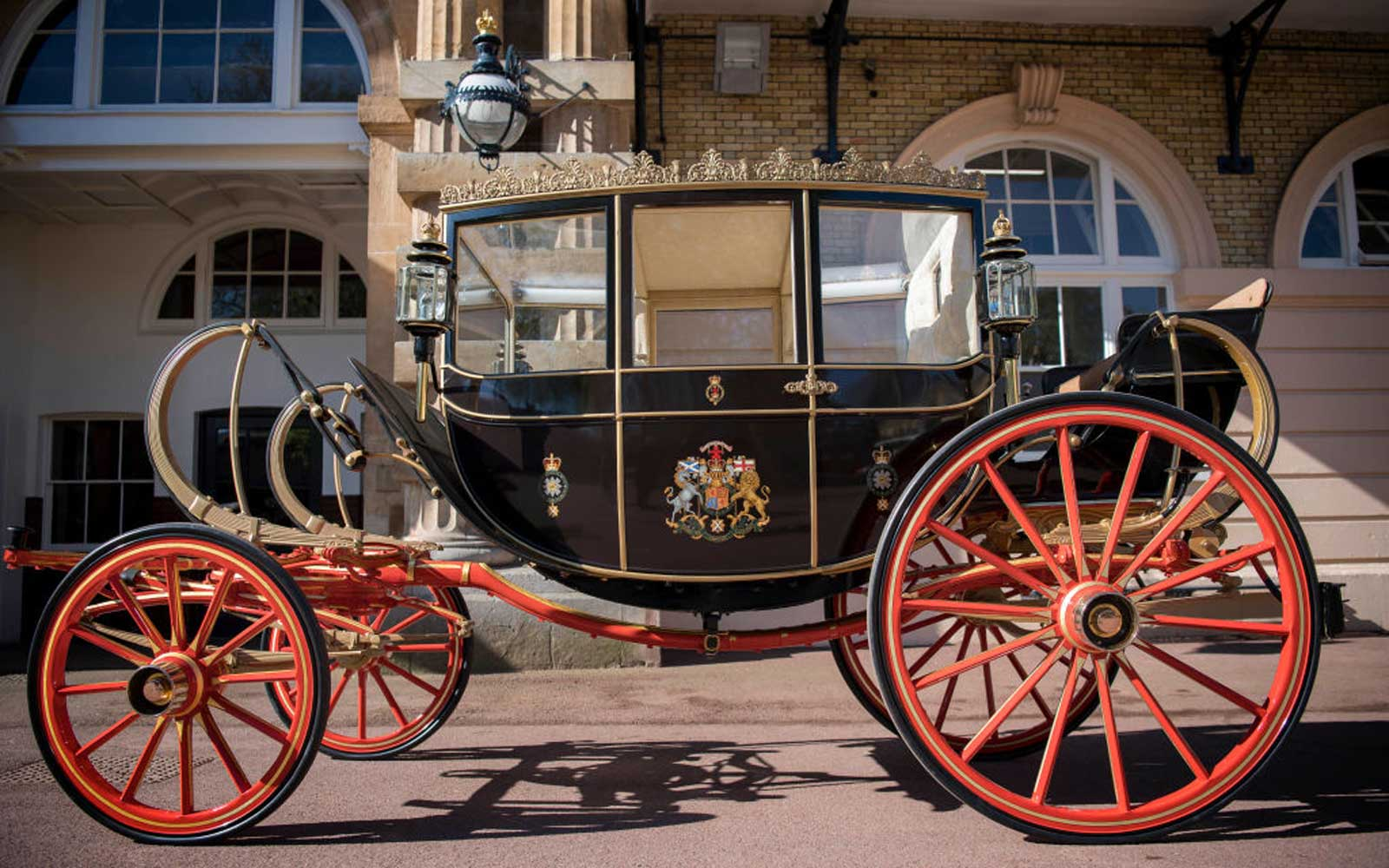 The Scottish State Coach, which will be used in the case of wet weather, for the wedding of Prince Harry and Meghan Markle