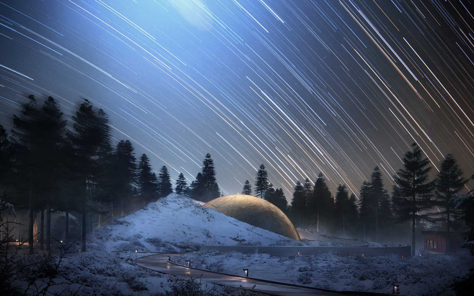 Rendering of the new Snohetta Solobservatoriet planetarium project in Norway
