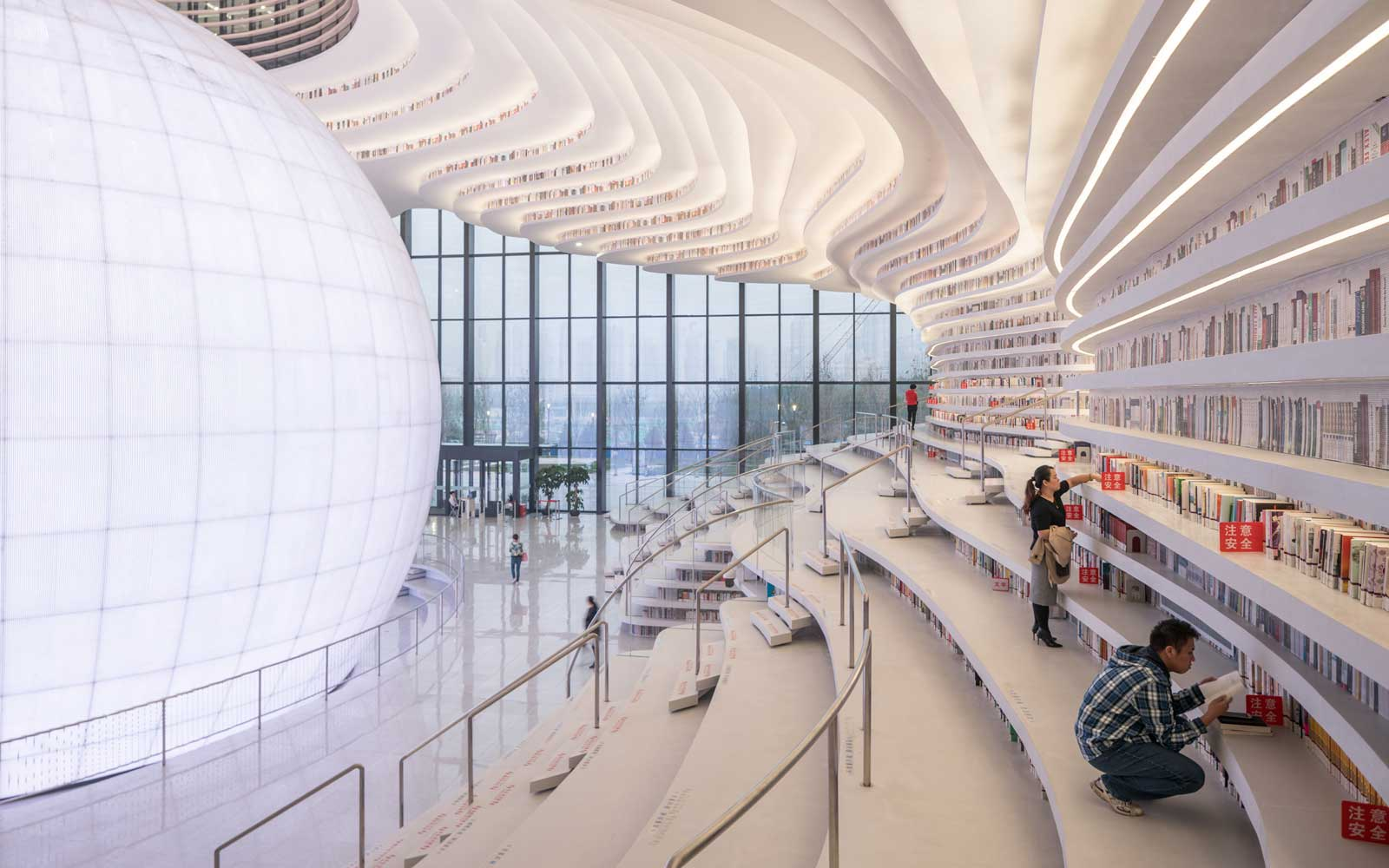 Inside One of the World's Most Beautiful Libraries: Tianjin Binhai Library