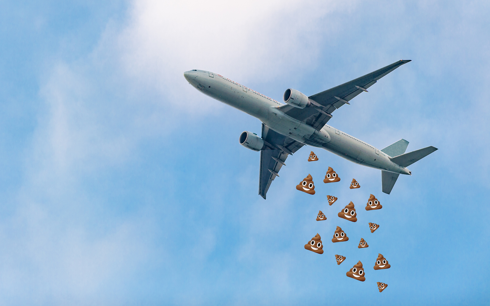 Airplane in the air with Poop Emojis