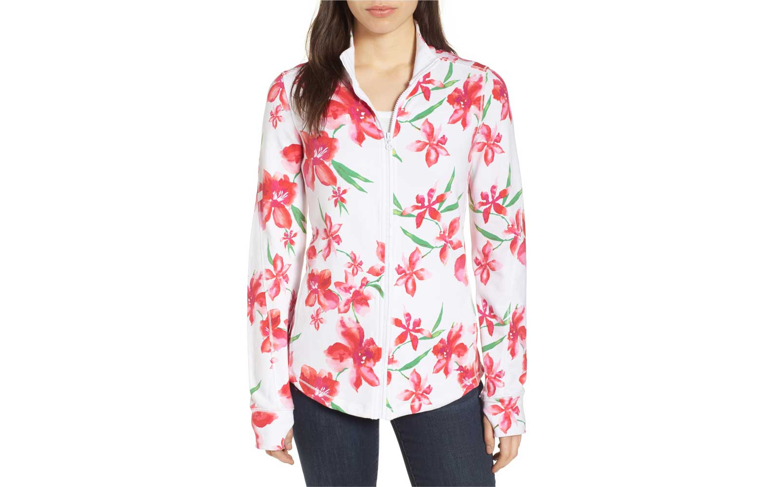 Floral Fade Stretch Cotton Zip Jacket