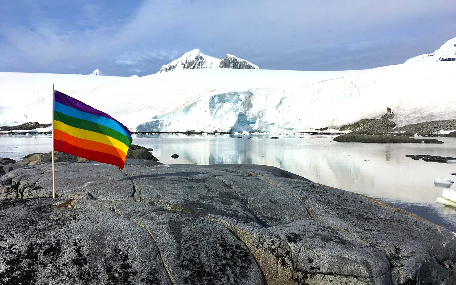 Pride flag flying in Antarctica