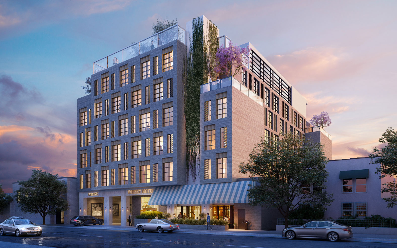 The facade of the Whisky Hotel opening in Hollywood, California.