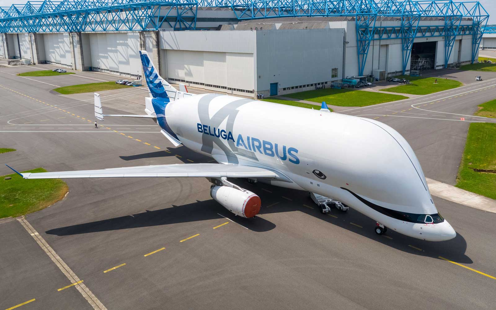 The first BelugaXL oversize cargo airlifter shows off its special beluga whale-inspired livery