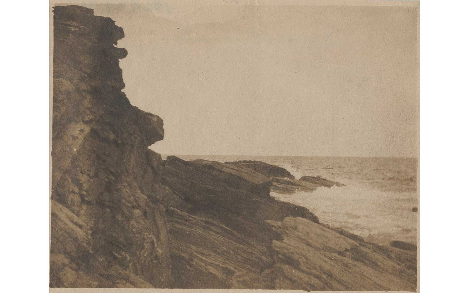 Cliff at Prout's Neck, ca. 1885, albumen silver print by Winslow Homer. Bowdoin College Museum of Art, Brunswick, Maine. The-