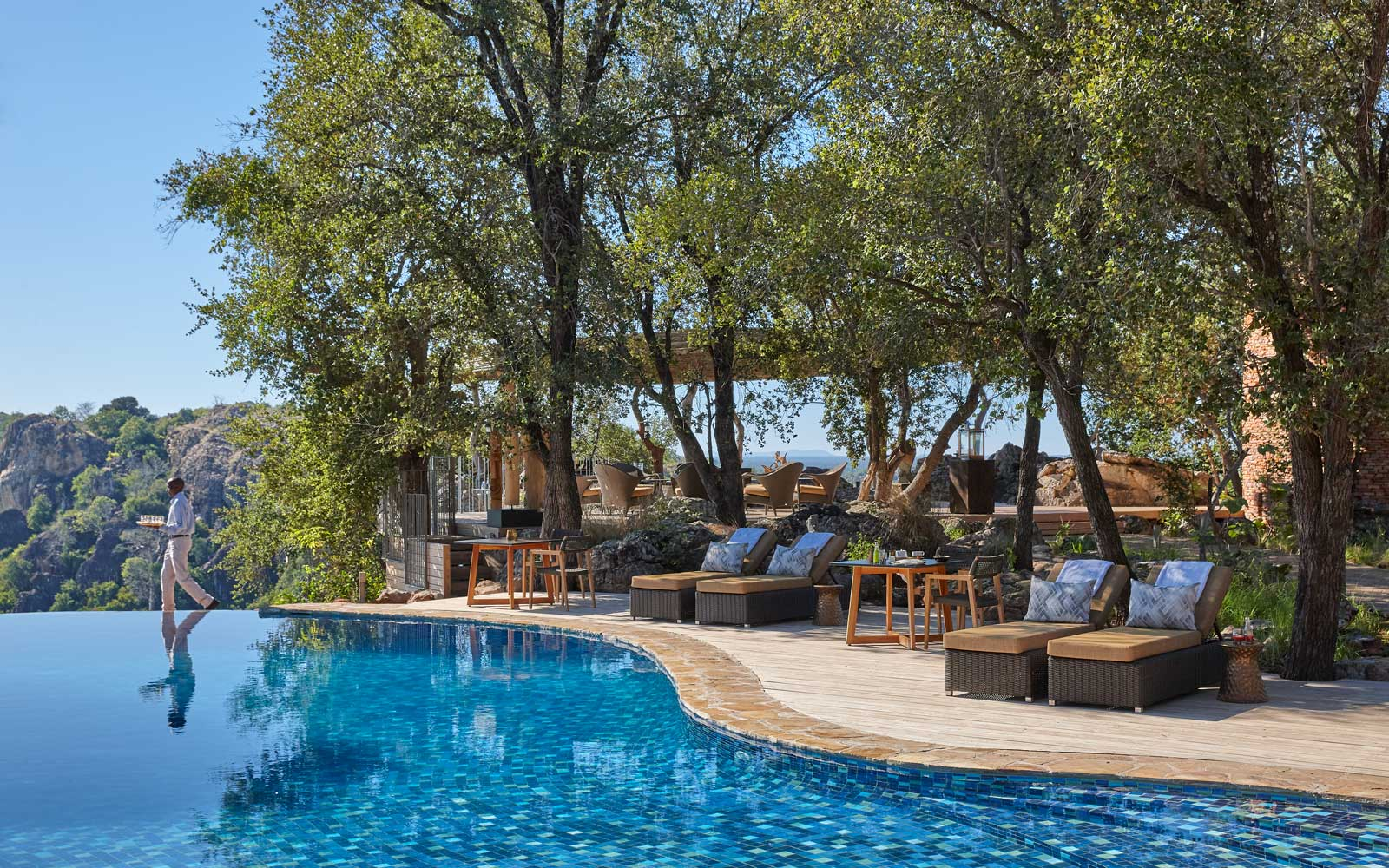 Pool deck at Singita Pamushana