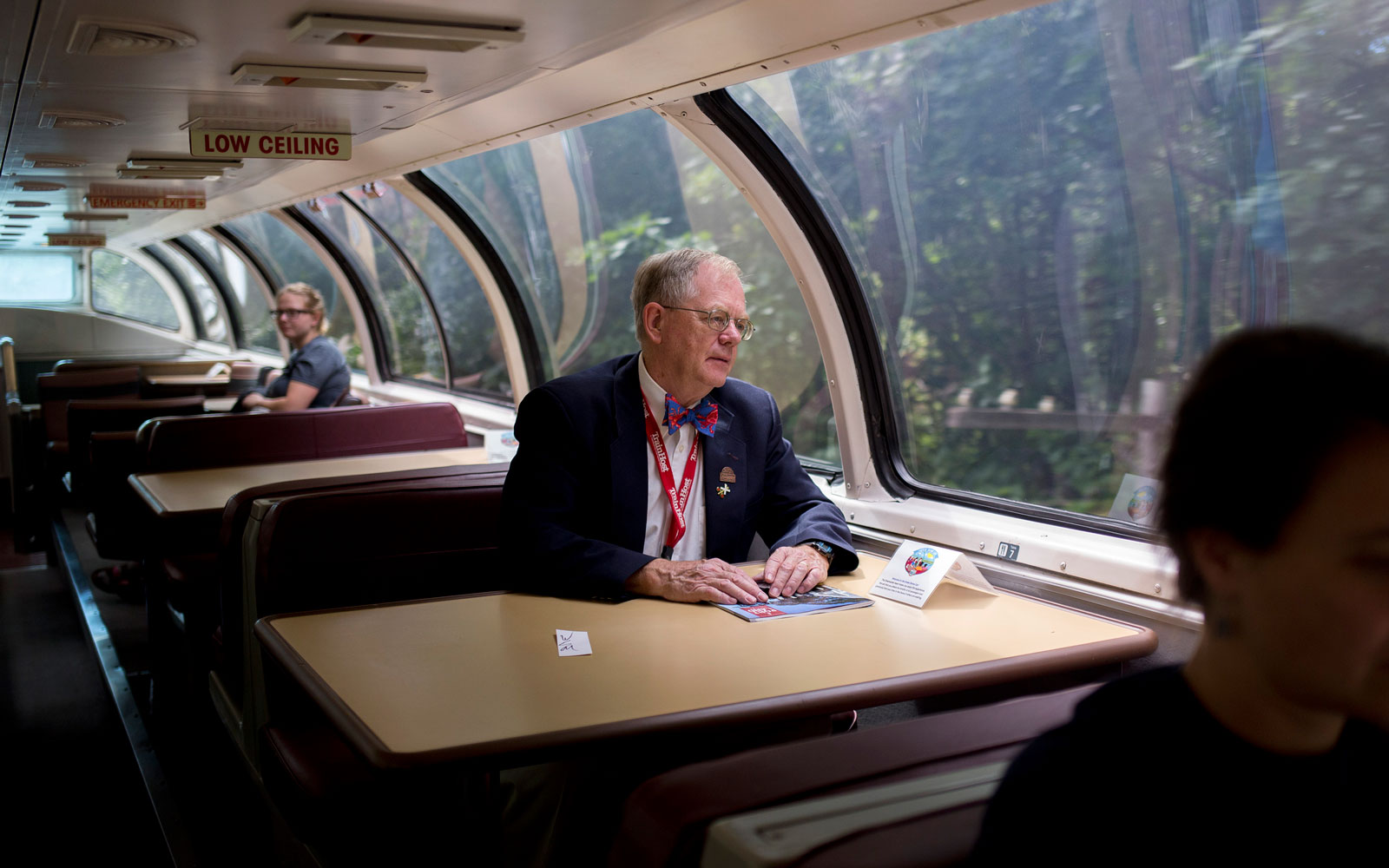 Amtrak's Great Dome Car features panoramic windows across all of its walls and its roof.
