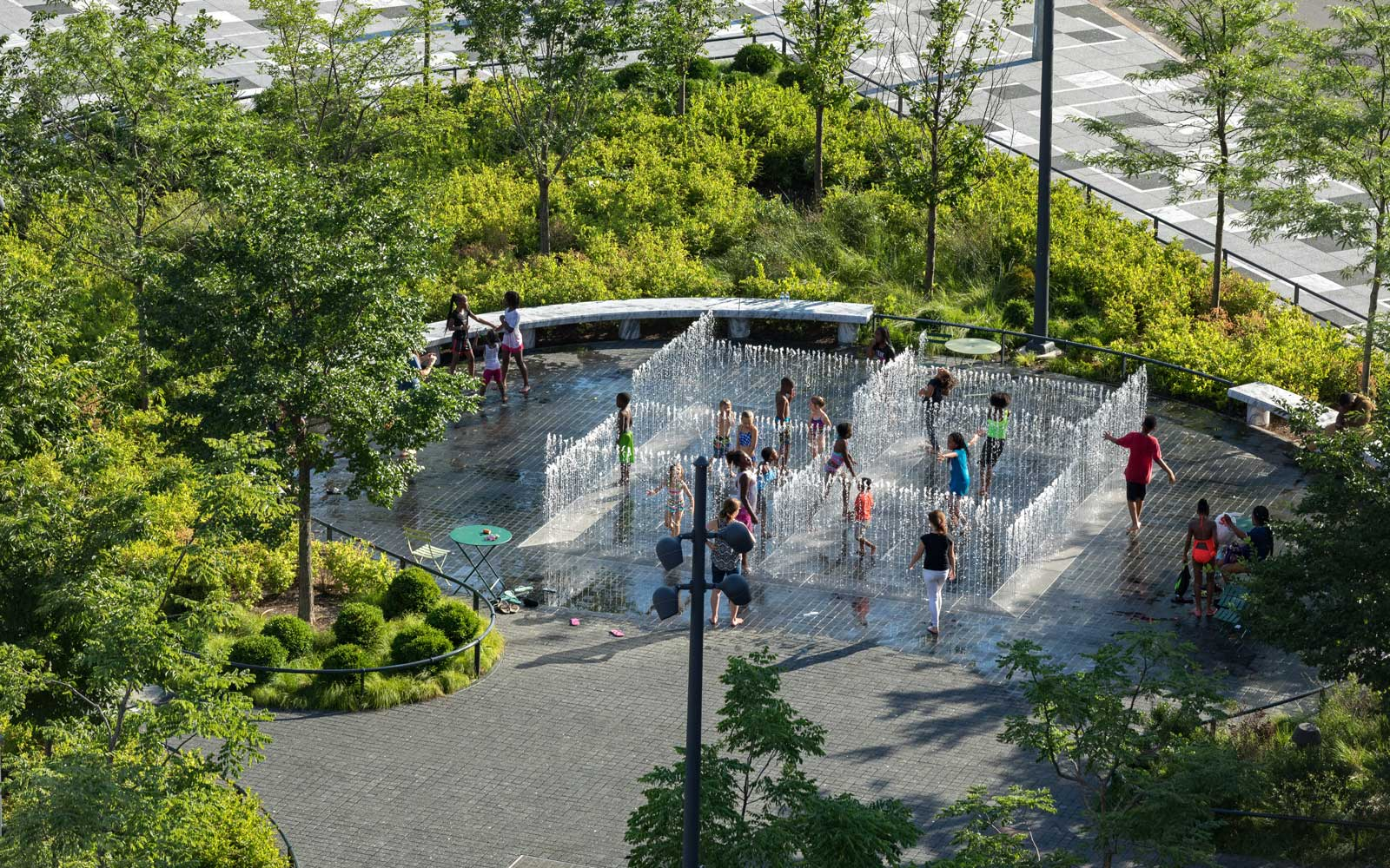 Water play area at the Arch Park in St Louis