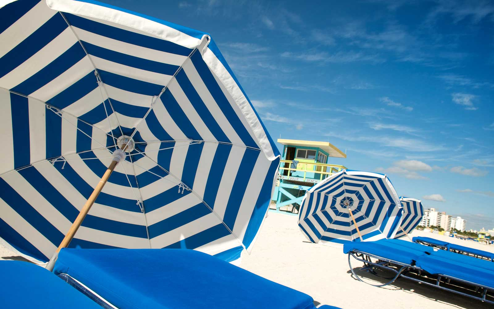 Summer Blue White Stripes Beach Umbrellas and Loungers
