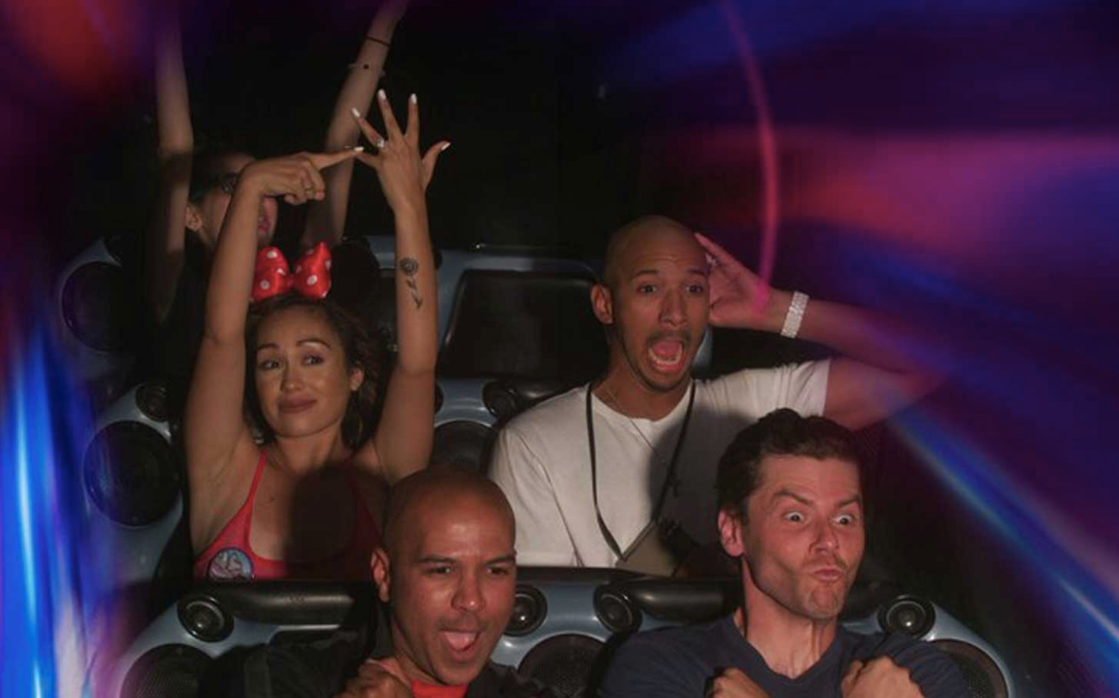 Newly Engaged Woman Strikes the Best Space Mountain Photo Pose Ever