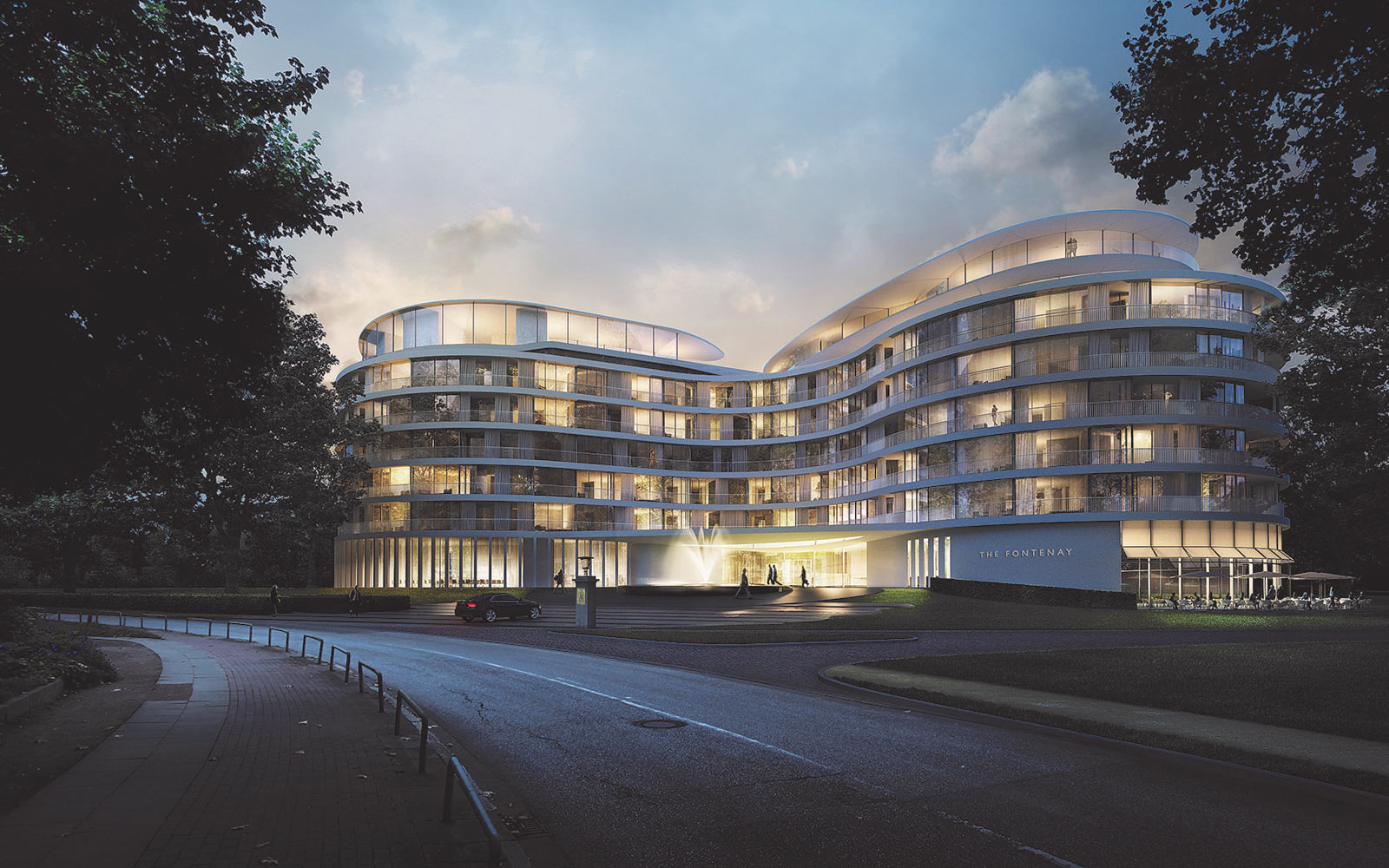 Evening rendering of The Fontenay in Hamburg