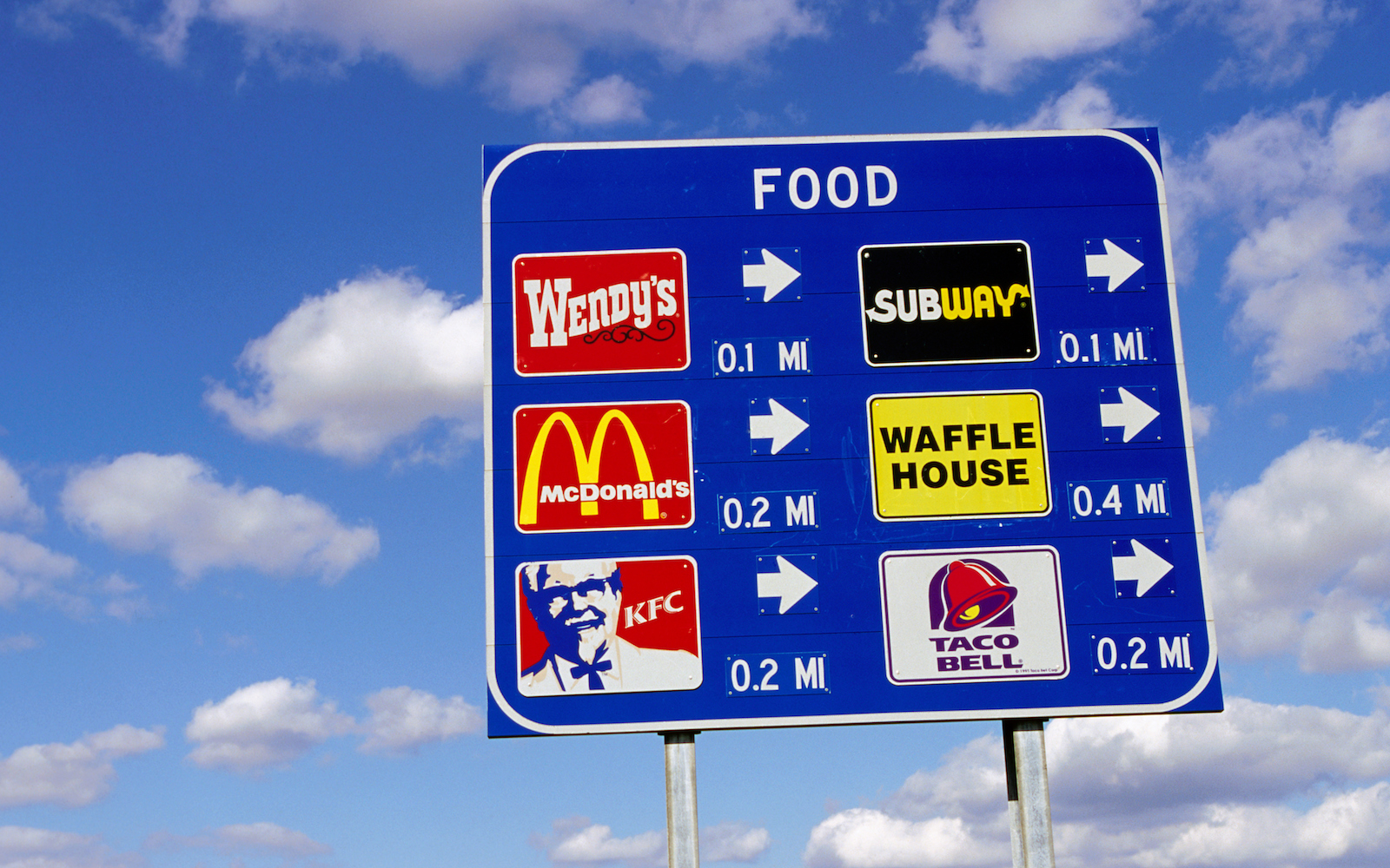 Fast food highway sign