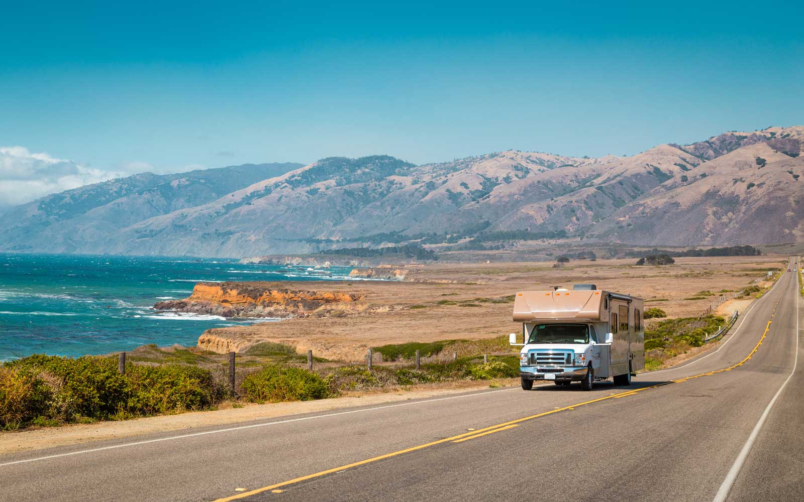 Recreational vehicle on Highway 1, California