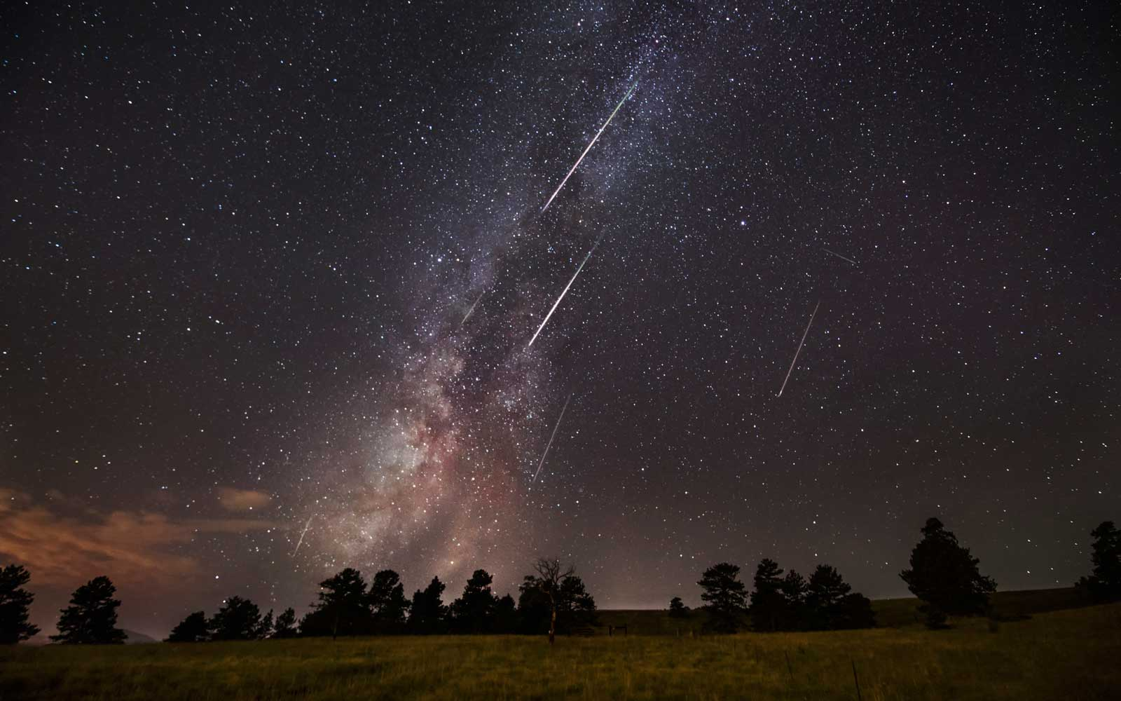 Composite of Milky Way and Perseid meteor shower, Pike National Forest, Colorado