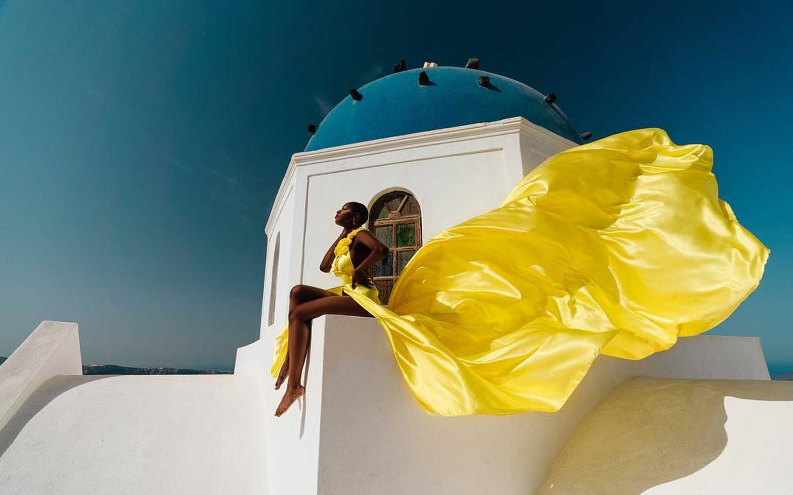 Alexandra Maye, Flying Dress, Santorini