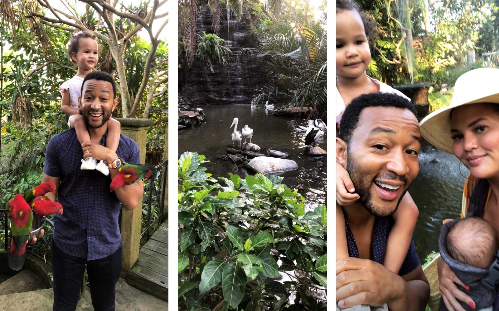 Chrissy Teigen and John Legend with Luna and Miles with Birds in Bali