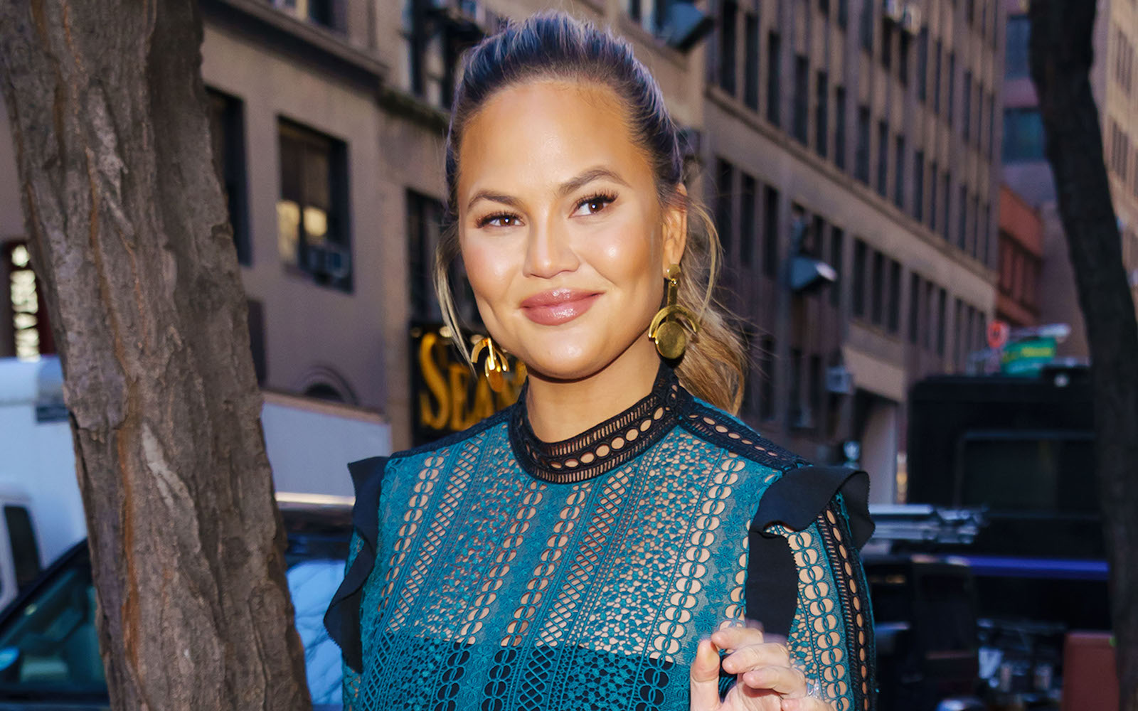 Chrissy Teigen departs the Today Show on January 31, 2018 in New York City.
