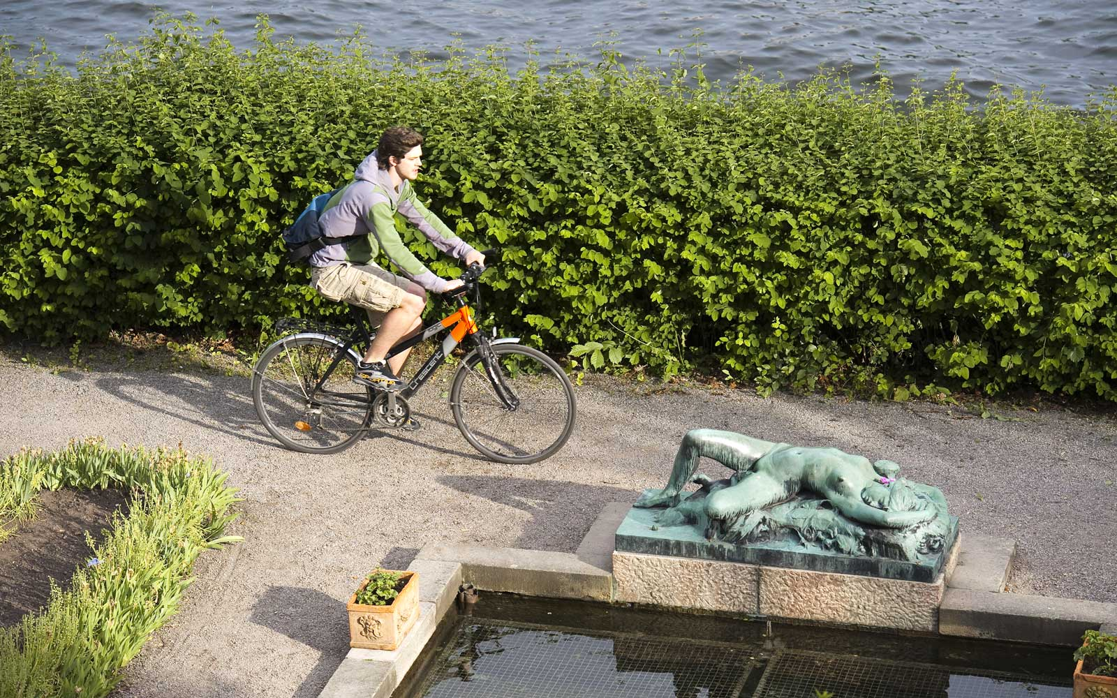 Biking through Stockholm's Djurgarden