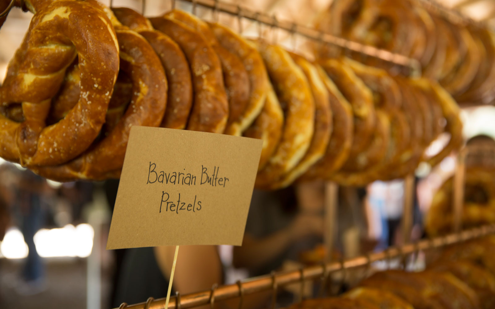 Buttered pretzels are one of the Bavarian treats offered on Colorado's Durango Brew Train.