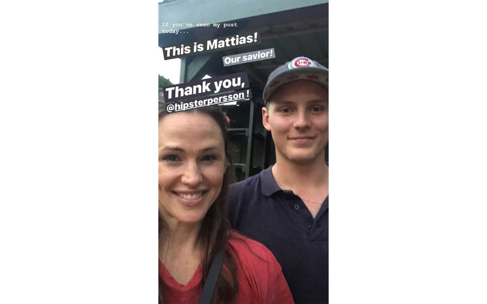 Jennifer Garner with her savior, Mattias