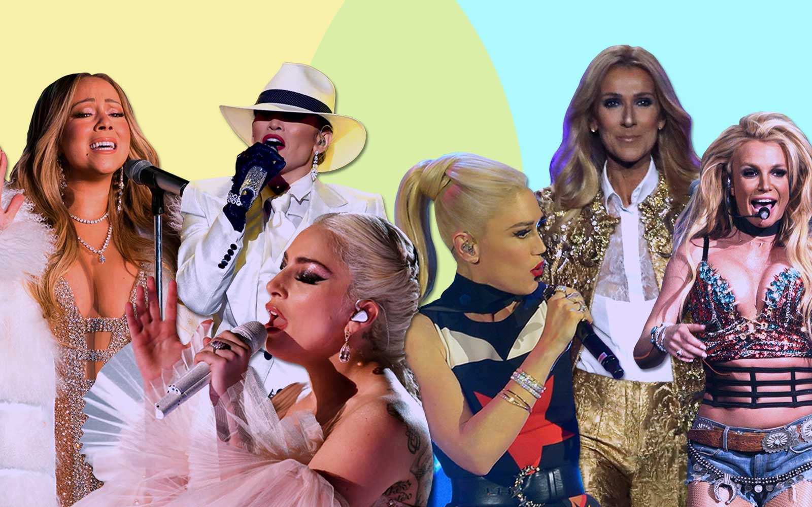 From Left: Mariah Carey, J Lo, Lady Gaga, Gwen Stefani, Celine Dion and Britney Spears