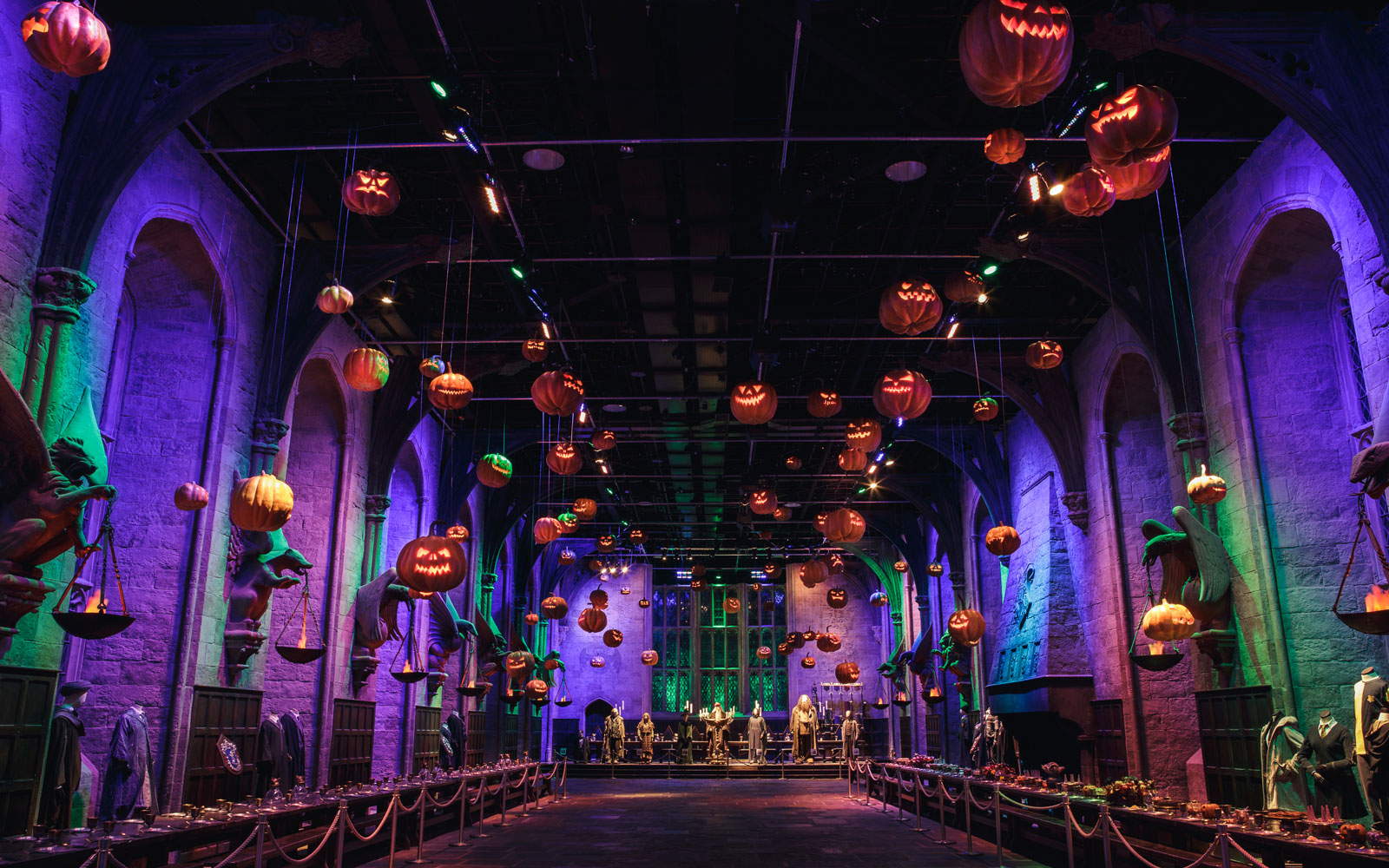 Step inside the Great Hall set used for filming during the movies to enjoy a two-course dinner and drinks as part of a special Halloween celebration.