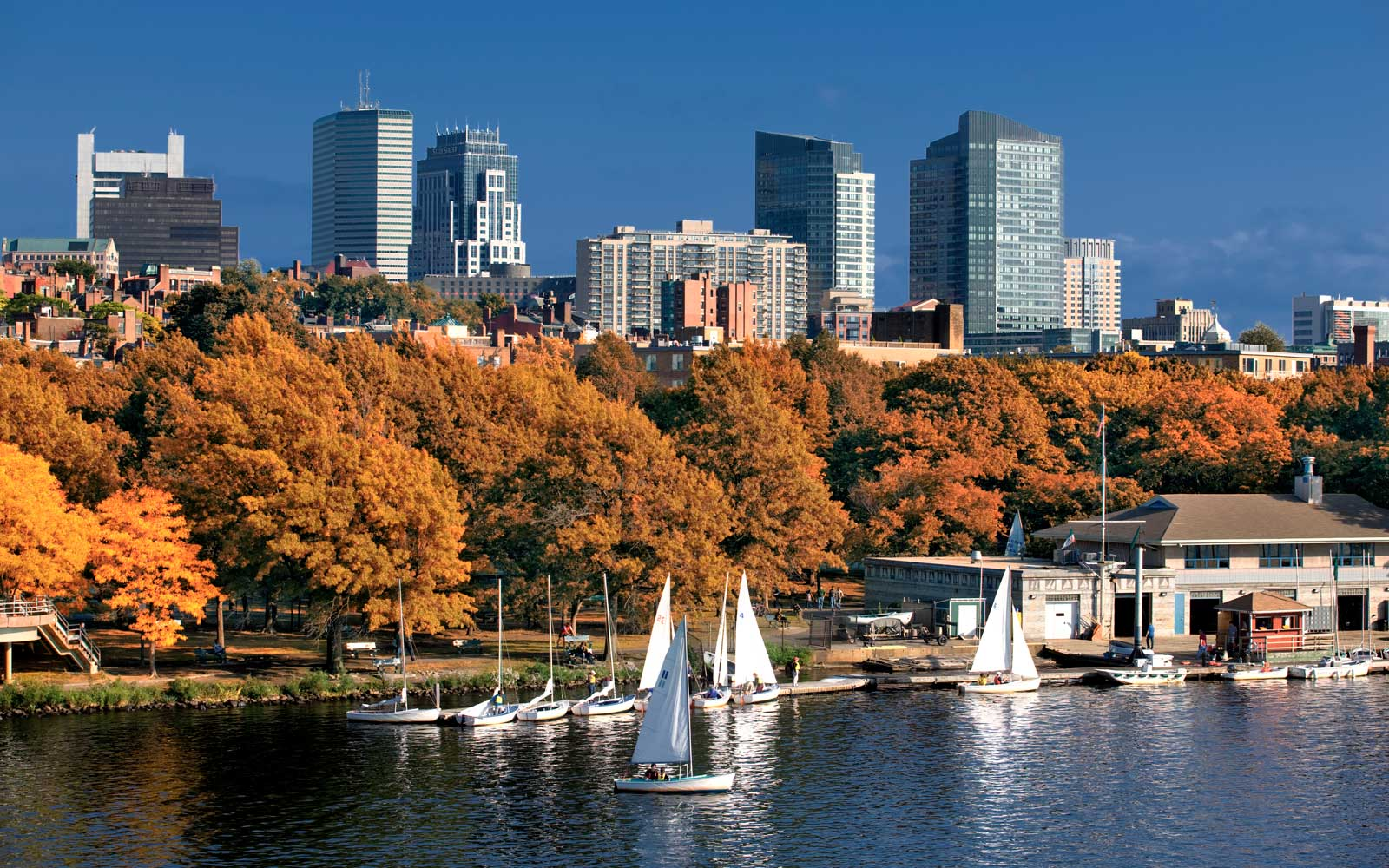 Boston skyline and Charles river, Massachussets, USA.