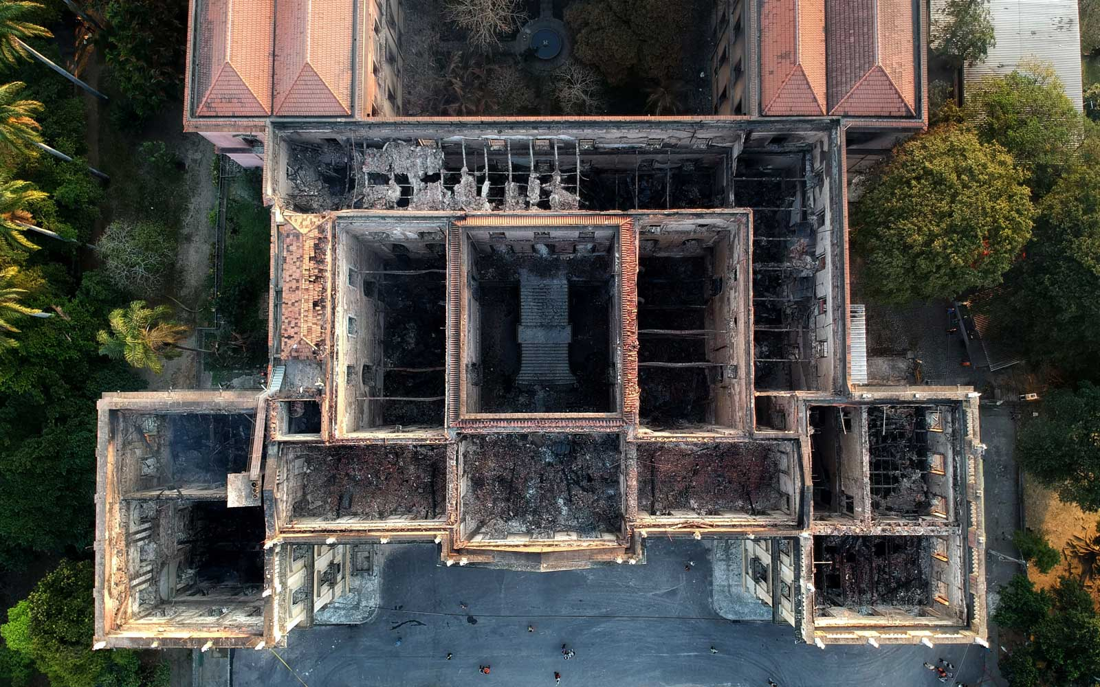 Drone view of Rio de Janeiro's treasured National Museum, one of Brazil's oldest, on September 3, 2018, a day after a massive fire ripped through the building.